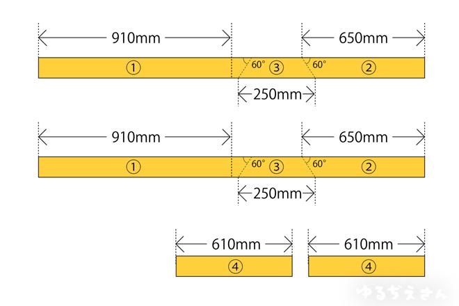 木材カットの展開図