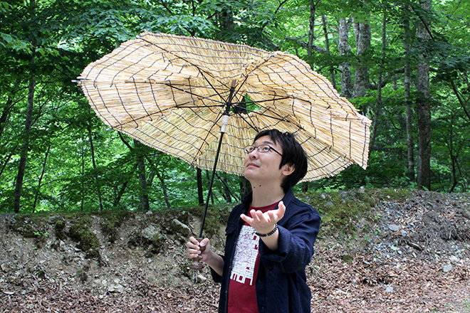 竪穴式住居傘開く